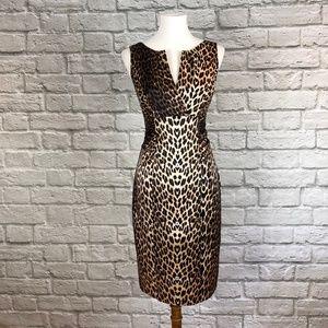 Kay Unger Silk Animal Leopard Print Sheath